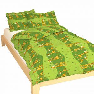Bavlněné povlečení do postýlky - Žirafa zelená