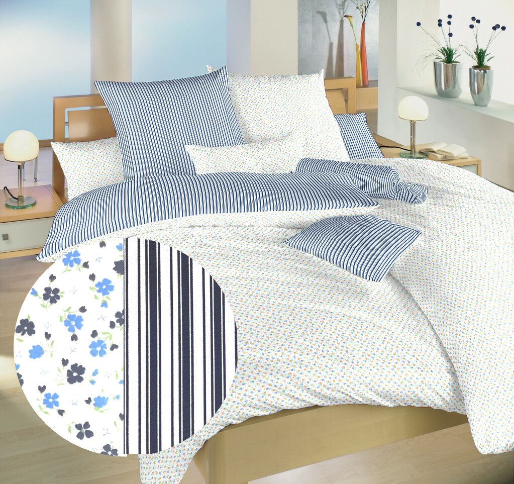 S květinovým a geometrickým motivem luxusní bavlněné ložní povlečení Květinky modré/Proužky modré, Dadka
