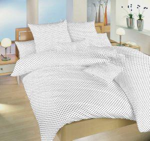 Bavlněné povlečení Puntík šedý na bílém