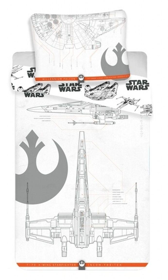V bílých barvách dětské bavlněné povlečení s motivem stíhačky z filmu Star Wars, Jerry Fabrics