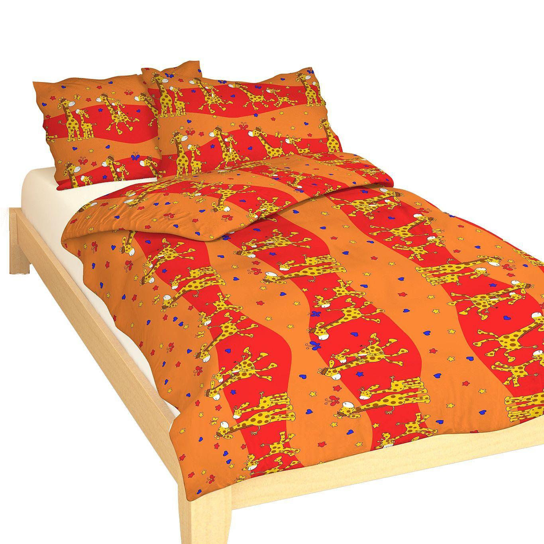 Dětské bavlněné ložní povlečení Žirafa červená, Dadka