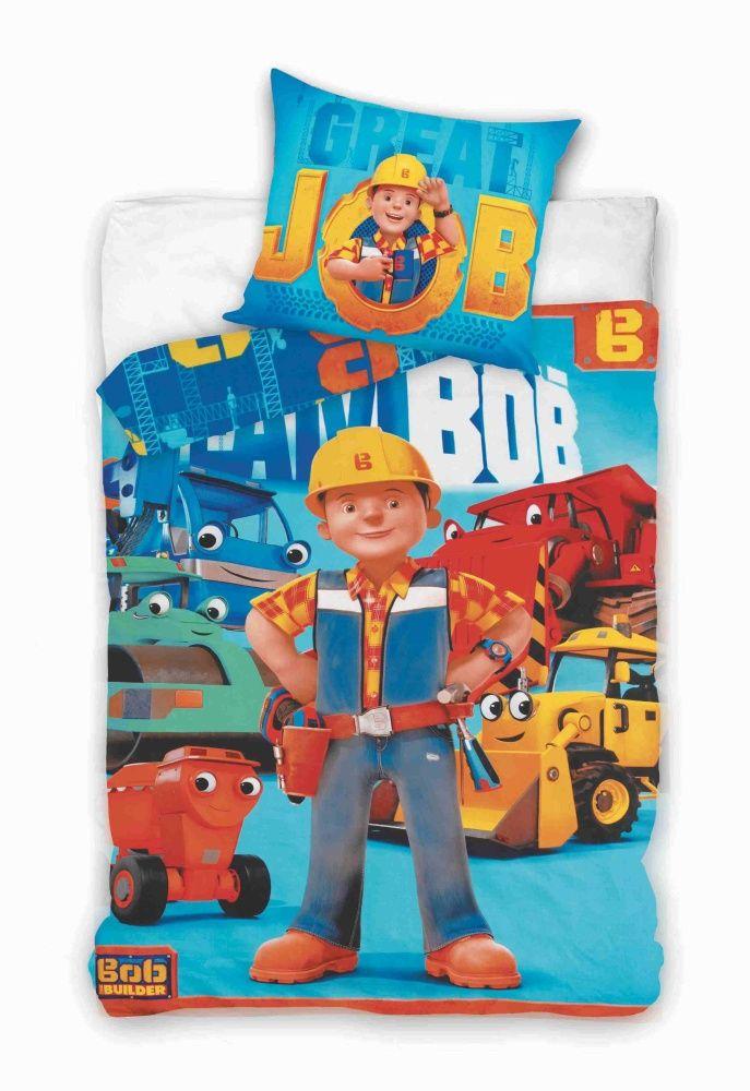Do modré barvy laděné dětské bavlněné ložní povlečení Bořek Stavitel, Jerry Fabrics