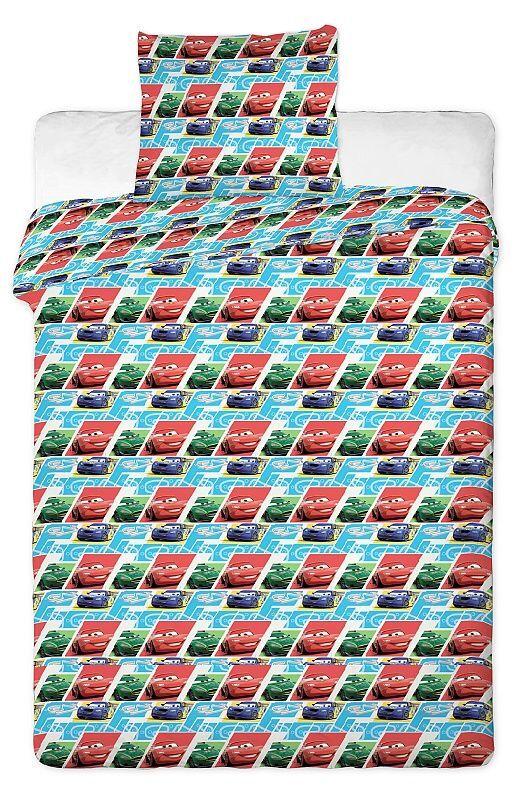 Autíčka na dětském bavlněném ložním povlečení do postýlky Cars blue kids 2013, Jerry Fabrics