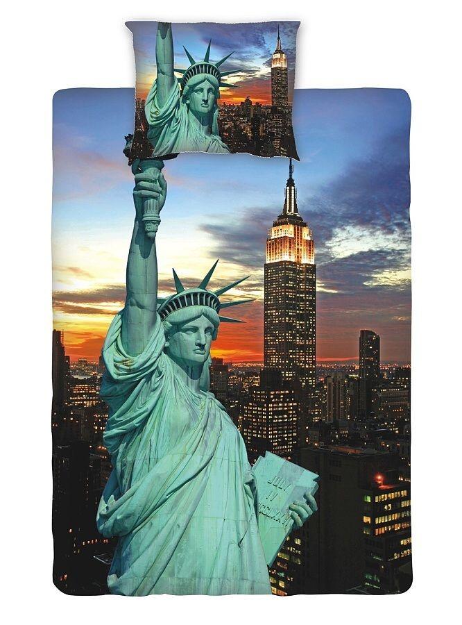 Známá dominanta na bavlněném ložním povlečení fototisk - New York night, Jerry Fabrics