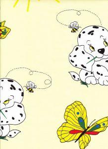 Krepové povlečení do postýlky Pejsek s motýlem žluté