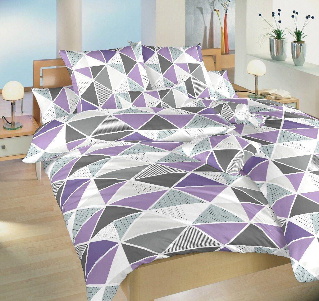 Krepové povlečení s geometrickým vzorem trojúhelníků Pyramidy fialové, Dadka