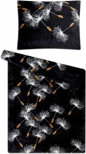 Nádherné černé mikroflanelové povlečení s bílými pampeliškami, | 140x200, 70x90 cm