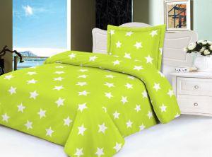 Hřejivé mikroflanelové povlečení v zelené barvě s potiskem hvězd, | 140x200, 70x90 cm