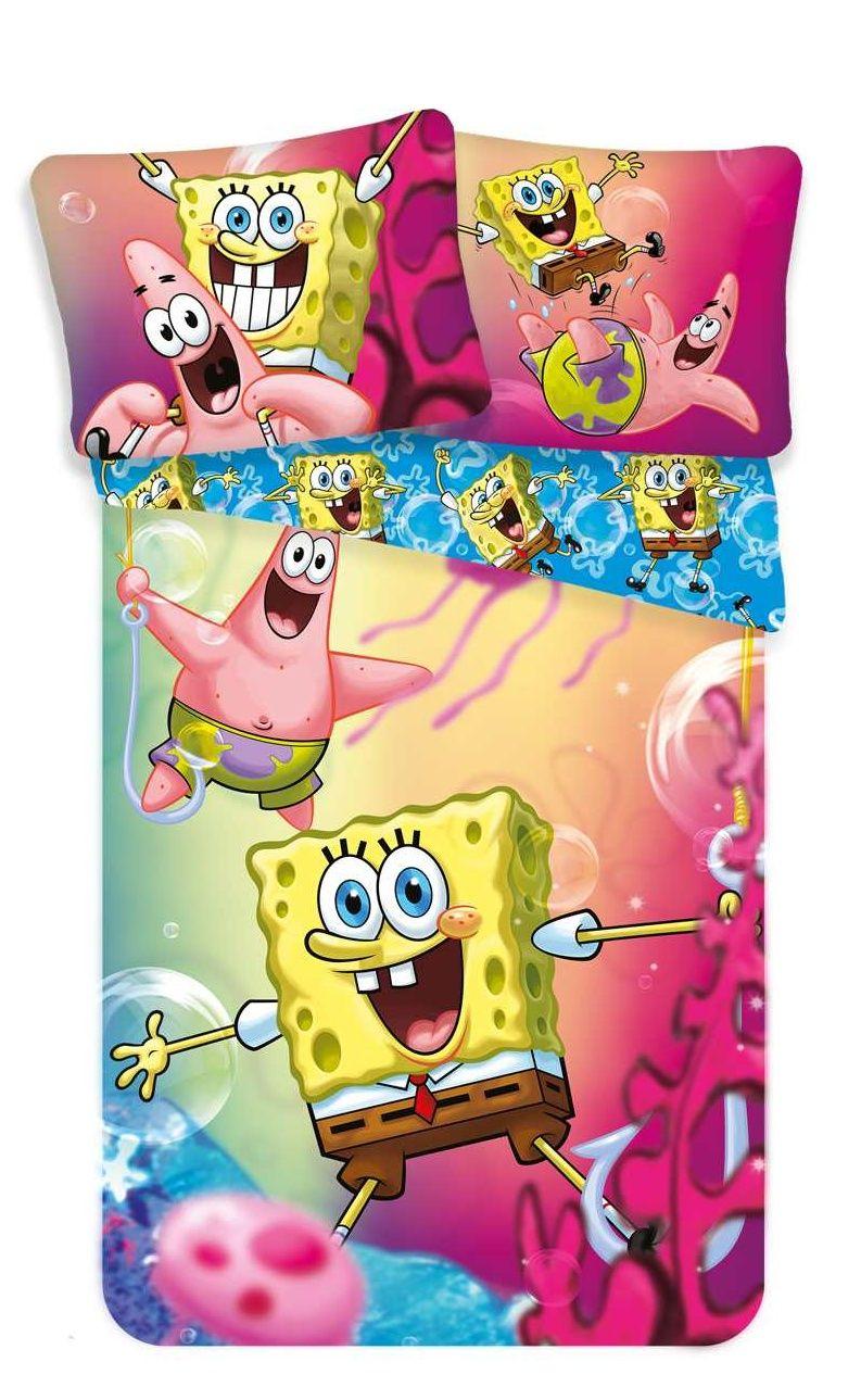 Dětské bavlněné povlečení Sponge bob Blue v barevném motivu, Jerry Fabrics