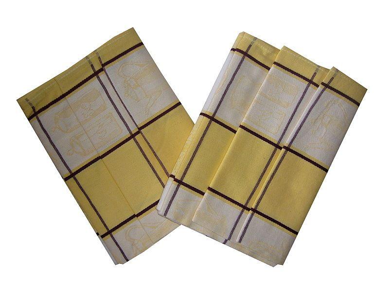 Velké kostky v barvě bílé a žluté na utěrce Čajová souprava žlutá, Svitap
