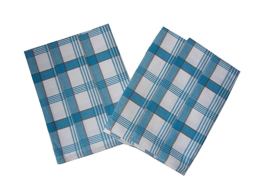 V modrobílé barvě laděná utěrka z bavlny Káro modré 3 ks, Svitap