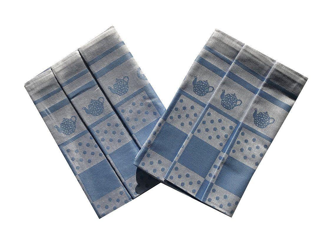 Kvalitní extra savé utěrky s motivem konvičky v modré barvě Svitap