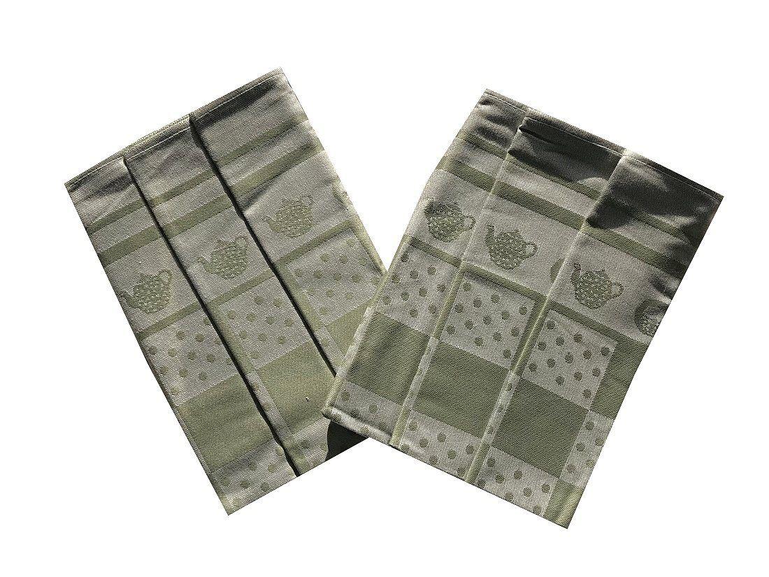 Kvalitní extra savé utěrky s motivem konvičky v olivové barvě Svitap