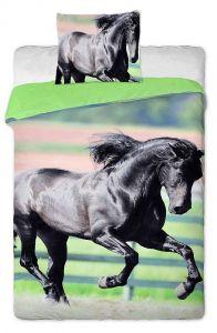 Bavlněné povlečení Černý kůň fototisk