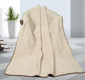 Vlněná deka 155 x 200 cm béžová - evropské merino