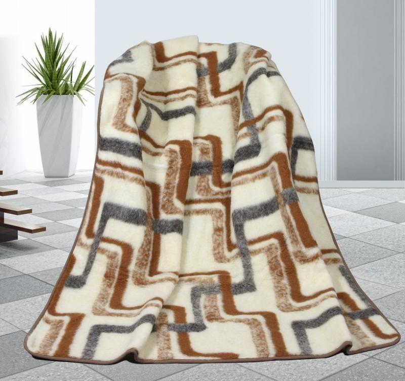 Vlněná deka 155 x 200 cm geometrie - evropské merino
