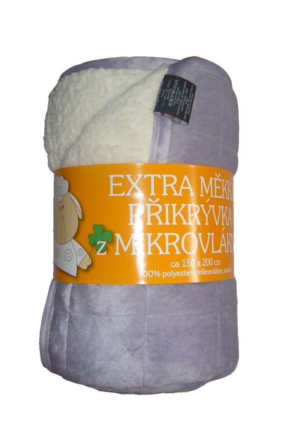 Z mikrovlákna kvalitní deka Ovečka světle šedá/bílá, Svitap