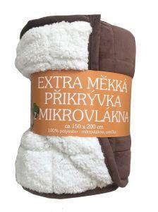 Deka mikrovlákno - Deka Ovečka tmavě hnědá/bílá