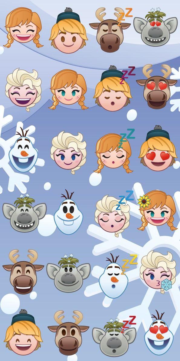 Na modrém podkladu dorozumívací symboly z Ledového království na kvalitní bavlněné plážové osušce Frozen emoji, Jerry Fabrics
