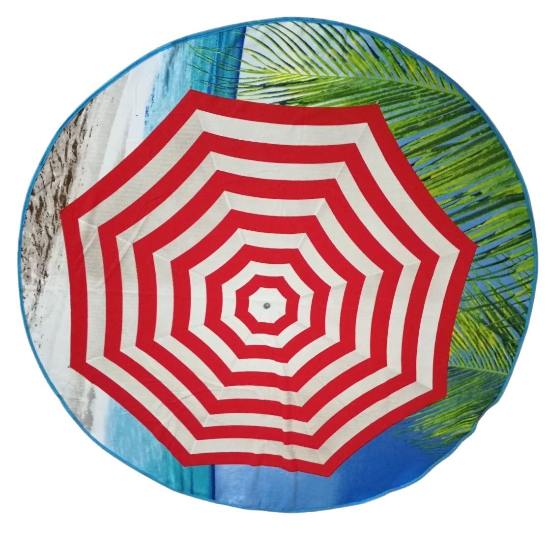Kvalitní kruhová plážová osuška Slunečník, Jahu