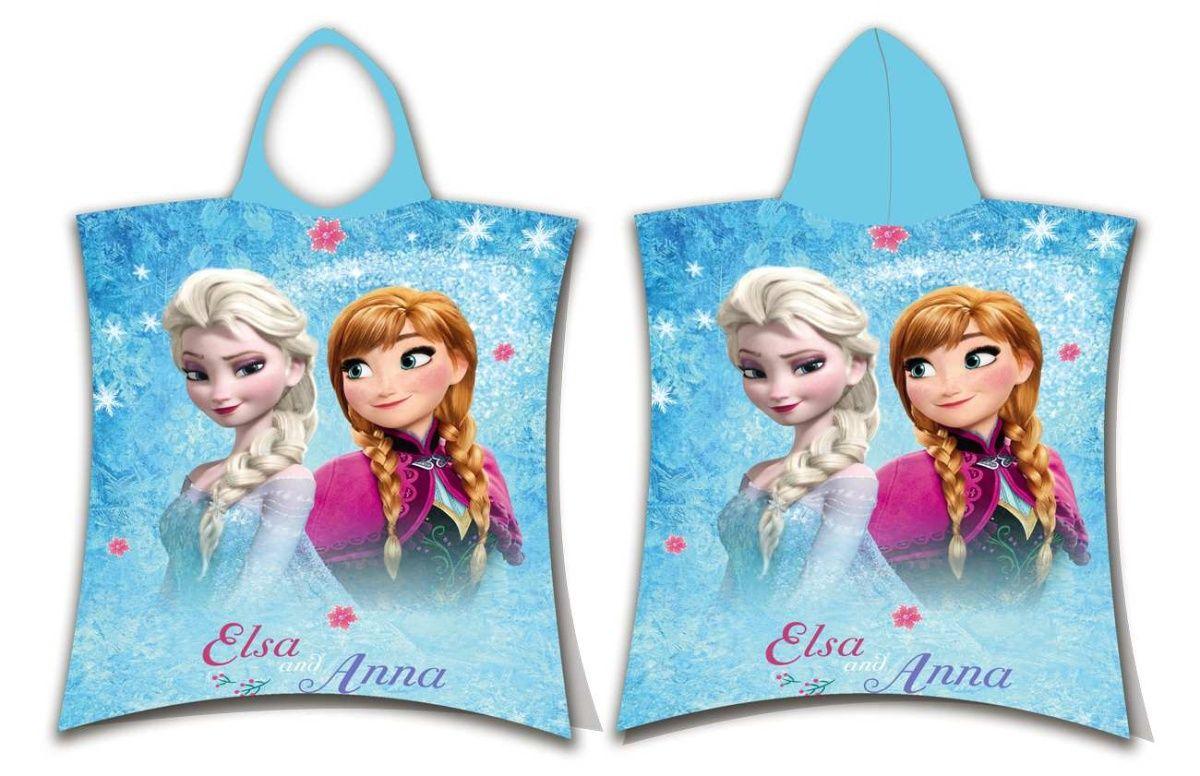 Dětské bavlněné pončo pro holčičky v modré barvě s Elsou a Annou, Jerry Fabrics