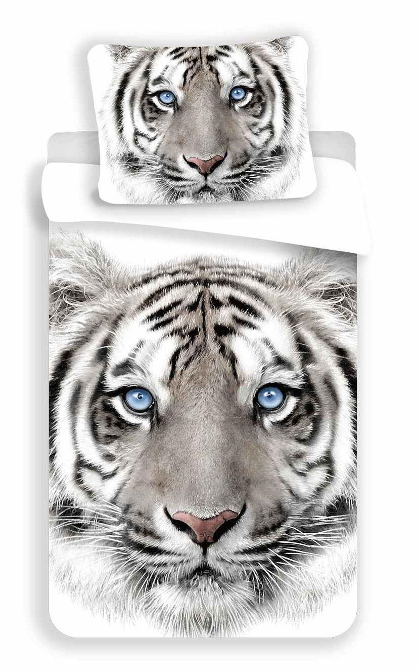 Bavlněné povlečení fototisk White Tygr s obrázkem tygra na bílém, Jerry Fabrics