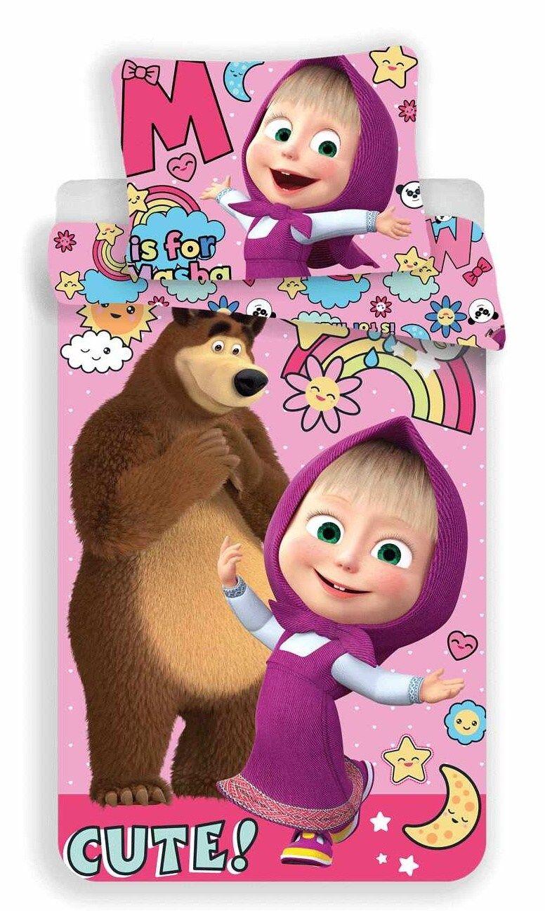Dětské bavlněné povlečení Máša a Medvěd rainbow do fialkova, Jerry Fabrics