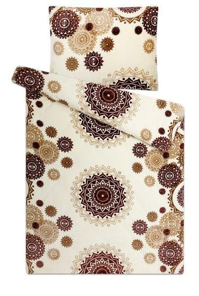 S geometrickým vzorem kvalitní a hřejivé mikroflanelové ložní povlečení Mandaly vanilka, Svitap