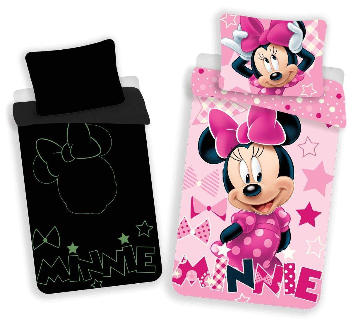 Pro holčičky bavlněné ložní povlečení Minnie 072 svítící efekt, Jerry Fabrics