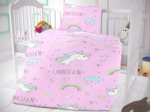 Bavlněné povlečení do dětské postýlky Unicorn