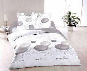 Kvalitní bavlněné ložní povlečení s motivem kruhů v bílé barvě ZEN, | 140x200, 70x90 cm, 220x200, 2x70x90 cm, 40x50 cm povlak, 50x70 cm povlak