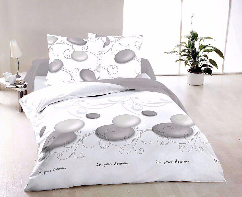 Kvalitní bavlněné ložní povlečení s motivem kruhů v bílé barvě ZEN, Kvalitex