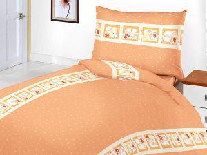 Dětské bavlněné ložní povlečení do postýlky Medvědí pohádka oranžová, | 90x130, 40x60 cm