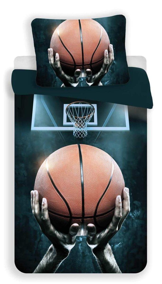 Moderní bavlněné povlečení v tmavých barvách s basketbalovým motivem, Jerry Fabrics