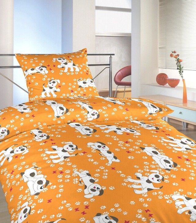 Motiv pejsků na dětském krepovém ložním povlečení do postýlky Pejsci oranžoví, Dadka