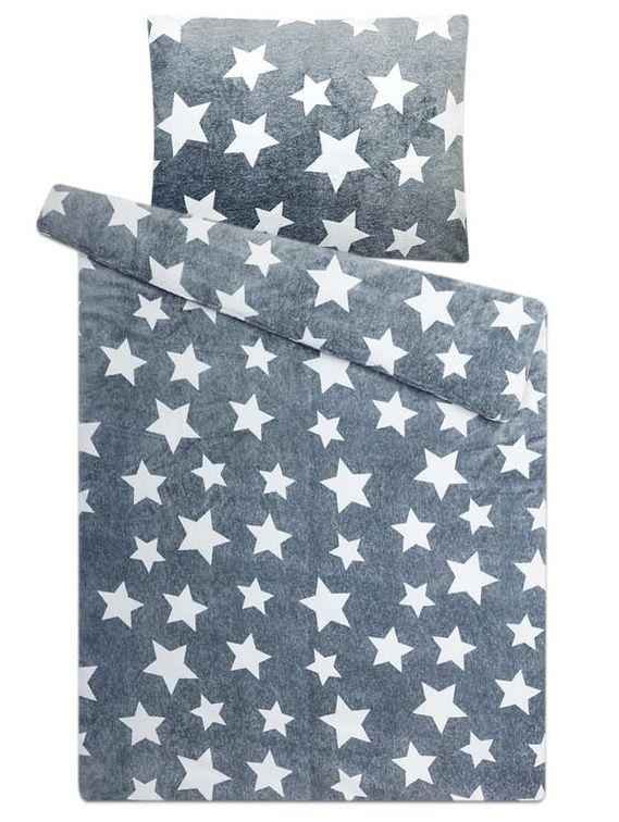 Na šedém podkladu bílé hvězdičky u mikroflanelového ložního povlečení Hvězdy šedé, Svitap