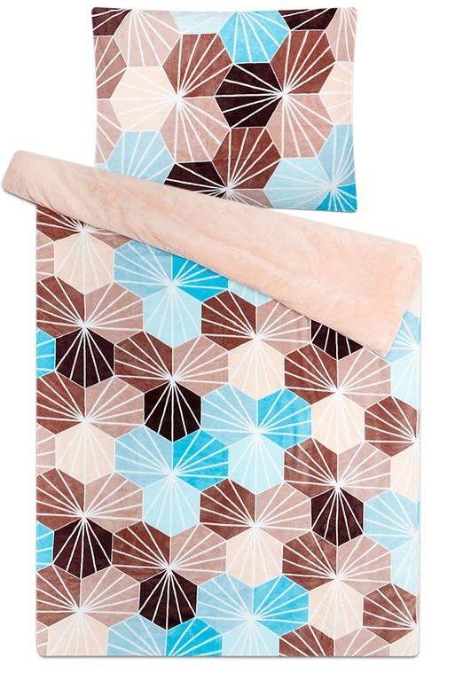 S mozaikovým vzorem kvalitní hřejivé mikroflanelové ložní povlečení Kikko tyrkys, Svitap