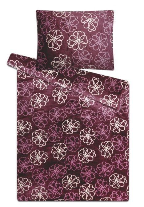 Na jednolůžko hřejivé mikroflanelové ložní povlečení Květiny fialové, Svitap