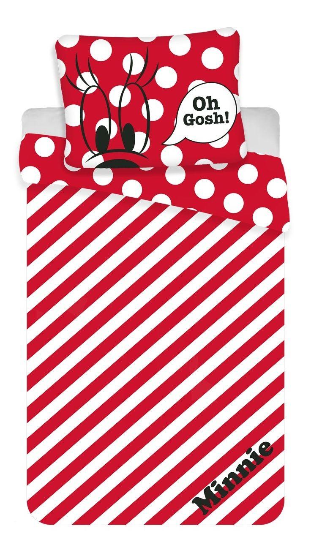 Krásné dívčí bavlněné povlečení s červenými a bílými pruhy a puntíky s nápisem Minnie, Jerry Fabrics