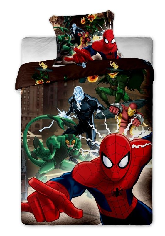 Motiv pavoučího muže na dětském bavlněném povlečení Disney - Spiderman brown, Jerry Fabrics