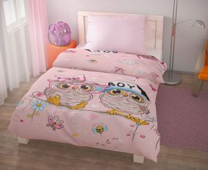 Bavlněné povlečení pro děti s motivem soviček Puhu růžové, | 140x200, 70x90 cm, 140x220, 70x90 cm