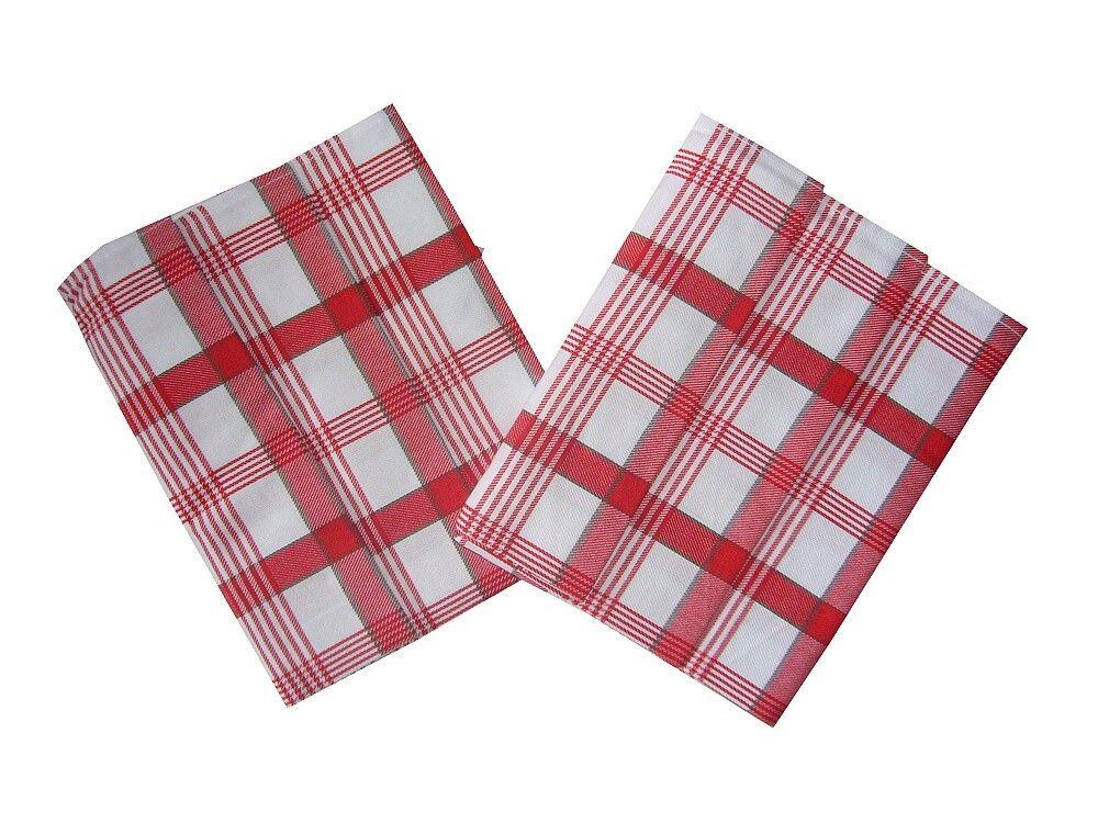 V červenobílé barvě laděná utěrka z bavlny Káro červené 3 ks, Svitap