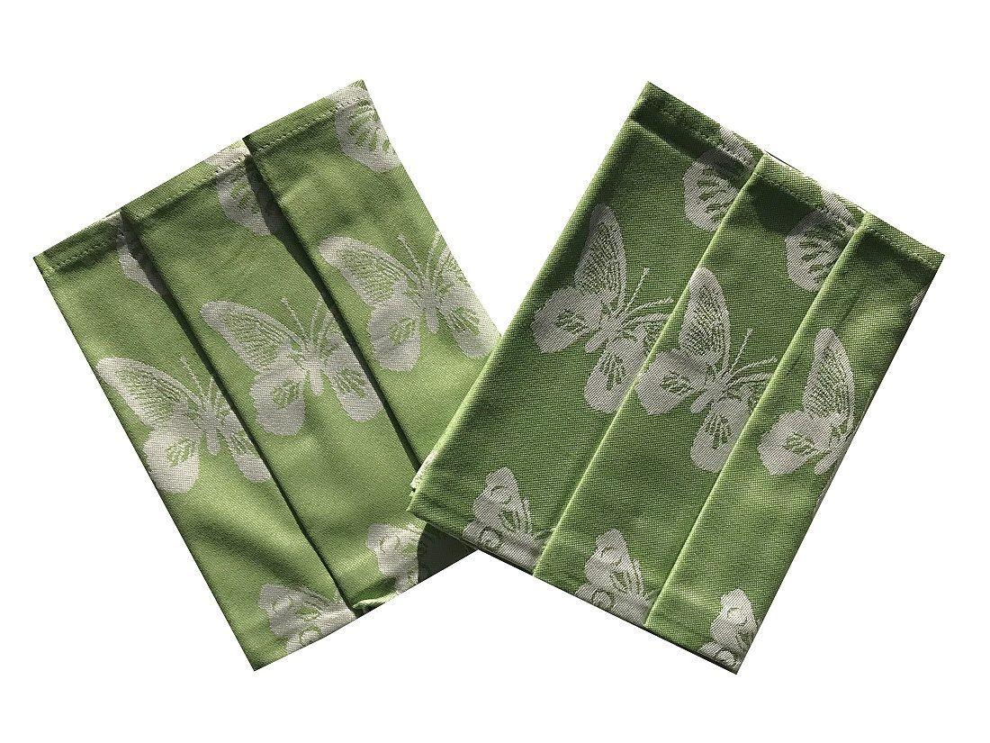 Bavlněná utěrka extra savá s motýly v zelené barvě Svitap