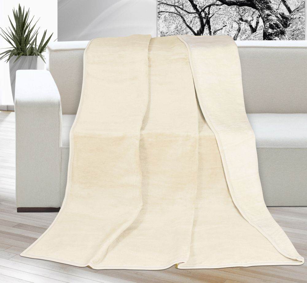 Akrylová deka Kira jednobarevná - tmavě béžová/světle béžová, Kvalitex