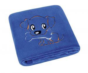 Dětská přikrývka MICRO s výšivkou pejska v modrém