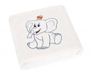 Dětská přikrývka Micro s výšivkou sloník bílá