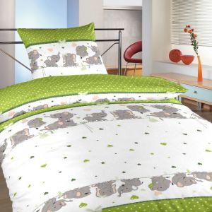 Povlečení bavlna do postýlky Sloni kiwi | 90x130, 45x60 cm