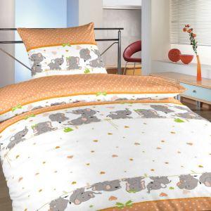 Povlečení bavlna do postýlky Sloni oranžoví | 90x130, 45x60 cm