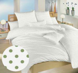Povlečení bavlna Puntík zelený na bílém