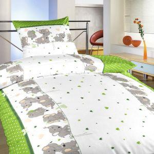 Povlečení bavlna Sloni kiwi | 140x200, 70x90 cm, 40x40 cm povlak, 40x50 cm povlak